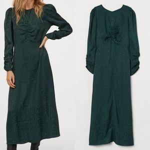 Dark Green Leopard Print Jacquard Weave Dress